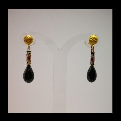 Golden silver earrings with...